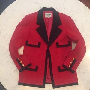 CHANEL Vintage Black and Red Blazer